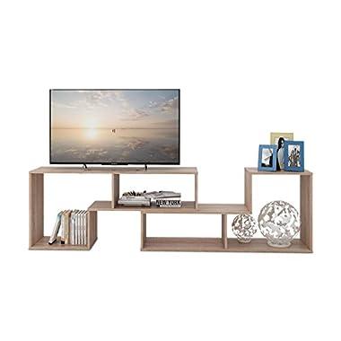 DEVAISE TV Stand/2 Pieces Bookcase/Bookshelf (0.59  Thk, Oak)