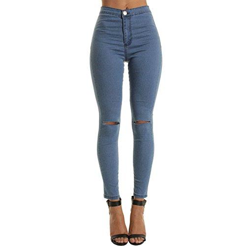 CHIYEEE Damen Röhrenjeans Skinny Fit Ripped Loch Jeans Aufgerissene Hose Marineblau M