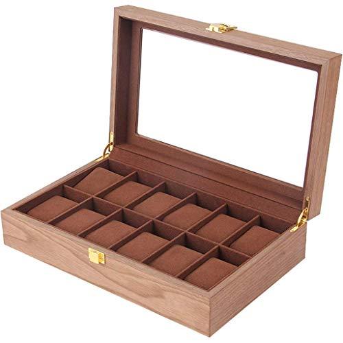 Organisateur de boîte de montre en bois massif Boîtier de montre de table en bois Commode Valet Tray Boy Boîte de montre en bois brillant Premium Boîte de montre à 12 emplacements Couvercle en verre