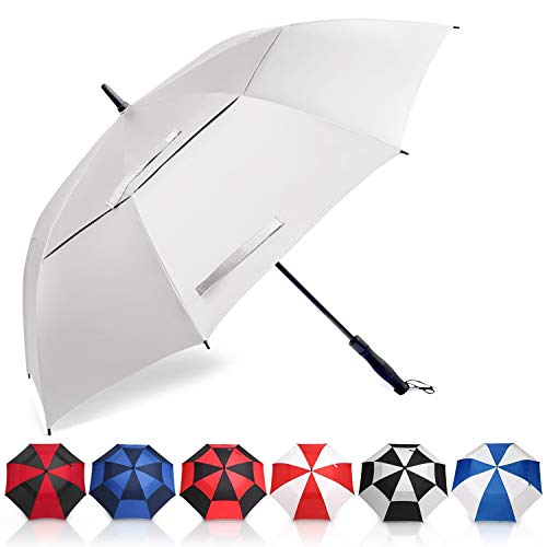 Amazon Brand - Eono Golf Umbrella 58 Inch Large Oversize Double Canopy Vented Windproof Waterproof Automatic Open Stick Umbrellas for Men and Women - Silver, S