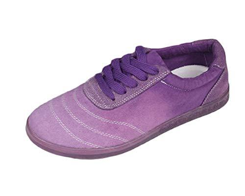 Zapatos De Tai Chi Gradiente Confort Transpirable Zapatillas Kung Fu Artes Marciales Correa Superior Unisex Morado 39