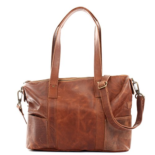 LECONI Shopper Vintage-Look Damen Henkeltasche Schultertasche Echt-Leder Natur Damentasche Ledertasche Umhängetasche Handtasche Leder 37x28x15cm braun LE0034-wax