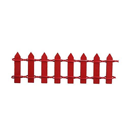 Mini valla de jardín de madera roja para decoración al aire libre, 10 x 3 cm