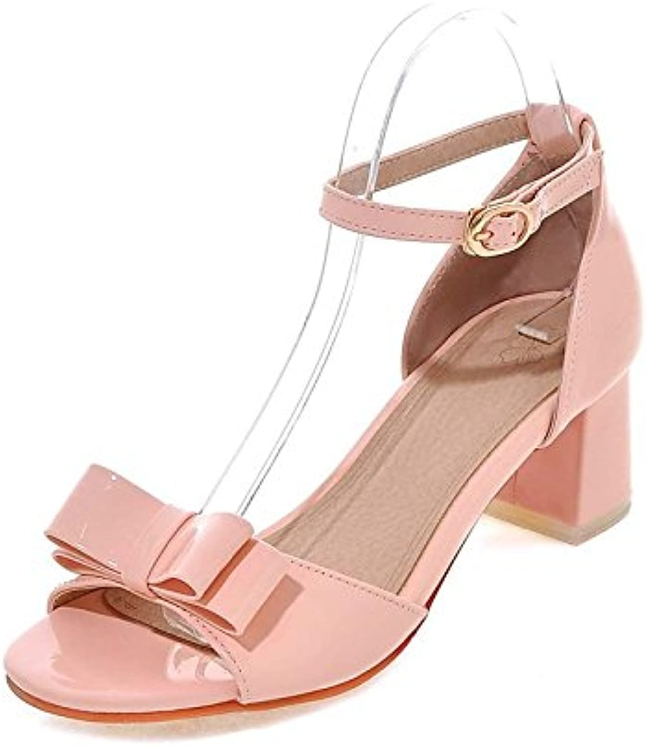 Women's shoes Leatherette Leather Spring,Summer Basic Pump Sandals Chunky Heel Open Toe Bowknot Buckle for Office,Career