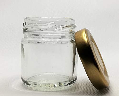 Juego de 70 tarros de cristal monodosis de 40 ml con tapones incluidos (tapón dorado)