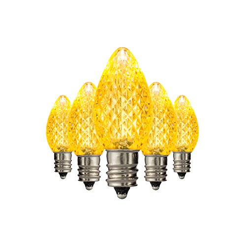 Holiday Lighting Outlet Faceted C7 Christmas Lights | Yellow LED Light Bulbs Holiday Decoration | Warm Christmas Decor for Indoor & Outdoor Use | 2 SMD LEDs in Each Light Bulb | Set of 25