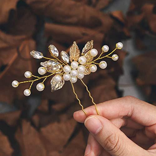 Handcess Perle Braut Hochzeit Haarnadel Silber Blätter Kristall Kopfschmuck Strass Braut Haarschmuck für Frauen und Mädchen (Gold)