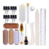 Aiming 25pcs Cuero de encuadernación Artesanal Kit de Papel Creaser Hilo Encerado punzón de Aguja Clips de la Carpeta DIY de Costura Set