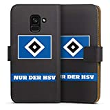 DeinDesign Klapphülle kompatibel mit Samsung Galaxy A8 Duos 2018 Handyhülle aus Leder schwarz Flip Hülle HSV Statement Hamburger SV