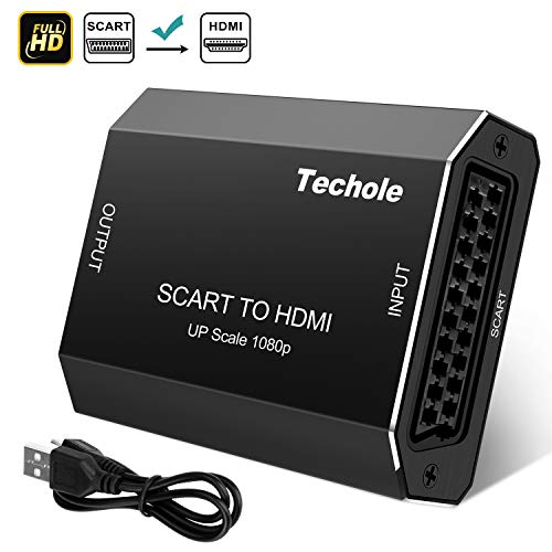 SCART auf HDMI, Techole Aluminium Scart zu HDMI Konverter 1080P / 720P Scart HDMI Adapter mit Vergoldetem HDMI Anschluss für HDTV Monitor Projektor VHS STB PS3 Wii Sky Box DVD Videorecorder