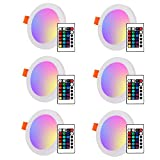 LemonBest® Panel de LED Downlight empotrado de techo, 3 + 3W ronda ocultos de doble color RGB LED lámpara, blanco frío, AC 100-265V, tamaño de recorte de 2,9 pulgadas, paquete de 6