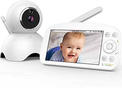 """Baby Monitor, 5.5"""" 720P HD Display Video Baby Monitor with Camera and Audio, 5000mAh Battery, Remote Pan&Tilt&Zoom, Two-Way Talk,Temperature Monitor, Night Vision, Lullaby Player, 960ft Range"""