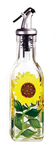 Grant Howard Hand Painted Square Cruet with Pourer, Sunflowers, 6 oz, Multicolor