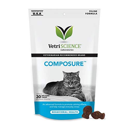 VetriScience Laboratories Composure, Calming Formula for Cats, 30 Bite-Sized...