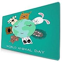 マウスパッド 大型 ゲーミング キーボードパッド 動物 犬 猫 ウサギ パンダ ゴム底 光学マウス ゲーム 特大 40cm×75cm 滑り止め エレコム 耐久性が良い おしゃれ かわいい 防水 サイバーカフェ オフィス最適 適度な表面摩擦