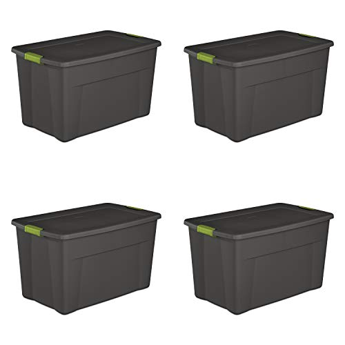 Sterilite 19453V04 35 Gallon/ 132 Liter Latch Tote, Flat Gray Lid & Base w/ Soft Fern Latches, 4-Pack