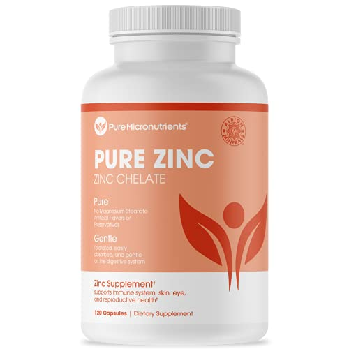Pure Zinc Supplement, Natural Zinc Glycinate Supplements, (Chelated) 25mg, 120 - Pure Micronutrients