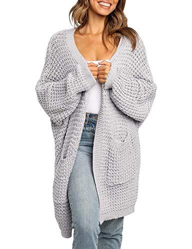 MEROKEETY Women's Oversized Long Batwing Sleeve Cardigan Waffle Knit Sweater Coat, LightGrey, S