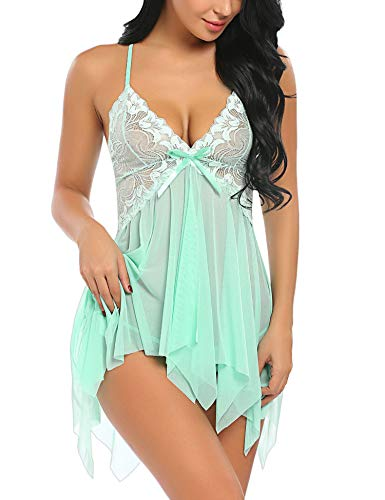 Avidlove Women Lingerie Lace Babydoll V Neck Sleepwear Strap Chemise Green L
