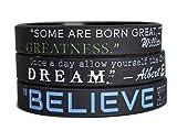 11thGear Silikon-Armband mit MotivationsZitat Believe Dream Greatness