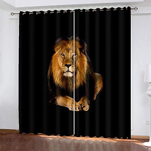 DRFQSK Cortinas Opacas para Ventanas Salon Dormitorio Infantil 3D Arte De León Animal Patrón Cortinas Aislantes Termicas Frio Y Calor con Ojales 70 X 160 Cm(An X Al) 2 Piezas Reduccion Ruido