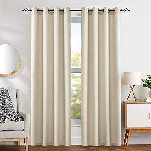 jinchan Casual Weave Curtains 84 Inch Length Curtain Grommet Top Linen Textured Privacy Drapes Panel Window and Door Draperies (2 Panels, Beige)