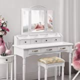 Makeup Vanity Set with Tri-Folding Mirror, 7 Drawers 6 Organizers, Vanity Table with Cushioned Stool Necklace Hooks Behind Bedroom Dressing Table for Girls Women Easy Assembly, White
