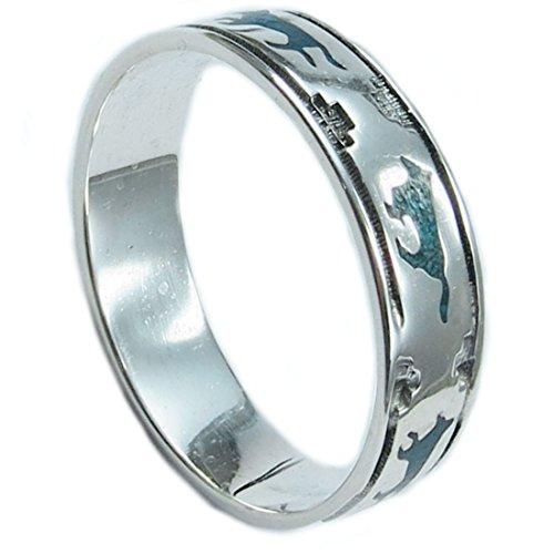 Indianerschmuck Ring aus Sterling Silber - Wolves On The Run, Türkis/Lapislazuli-13: Durchmesser 22,30 mm, Umfang 70,00 mm