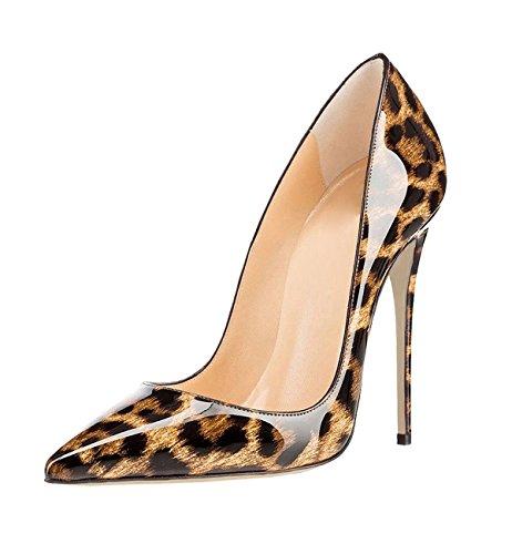 Soireelady Damen High Heels,Sexy Leopard Stiletto Schuhe,Geschlossener Spitze Pumps Leopard Große 37