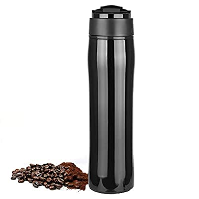 Cafebueno portable french press coffee maker | travel mug | hot and cold brew (12oz/350ml) - black