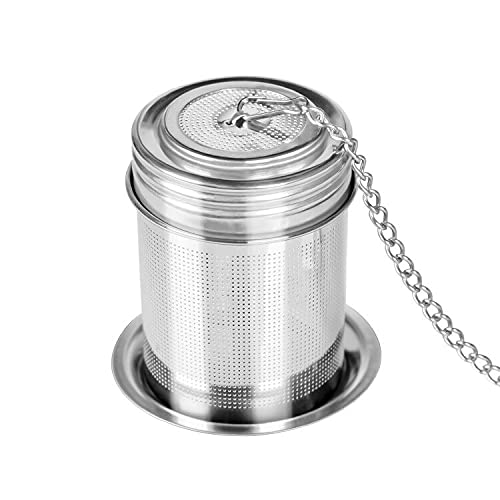 Ipeovrn Tea Ball Infuser - Stainless Steel Tea Infusers For Loose Tea With Chain Hook & Saucer - Extra Fine Mesh Tea Strainer For Brew Tea, Spices & Seasonings