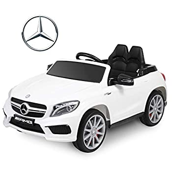 BABLE Benz GLA45 Licensed 12V Kids Ride On Car Electric Cars with Remote Control 2 Seat Battery Operated Kids Car Ride on Toy Motorized Vehicle with Suspension Music Foldable Traction Handle - White