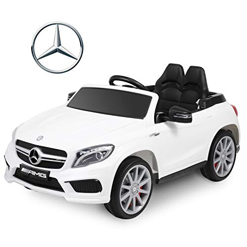 BABLE Benz GLA45 Licensed 12V Kids Ride On Car Electric Cars with Remote Control, 2 Seat Battery Operated Kids Car Ride on Toy Motorized Vehicle with Suspension Music Foldable Traction Handle - White