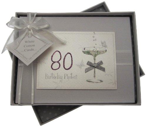 White Cotton Cards, Album Di Compleanno Fatto A Mano, Max. 60 Foto Da 7 X 5 Cm, Bianco, 80 Anni
