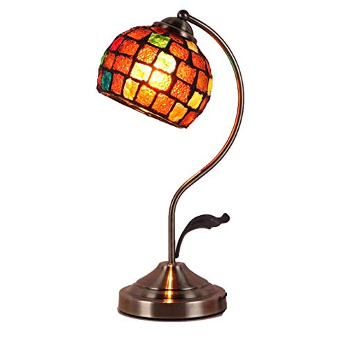 Lámpara De Mesa De Dormitorio Retro Tiffany Estilo Lámpara De Escritorio Mosaico Vidrio Pintura Lámpara De Decoración De Noche