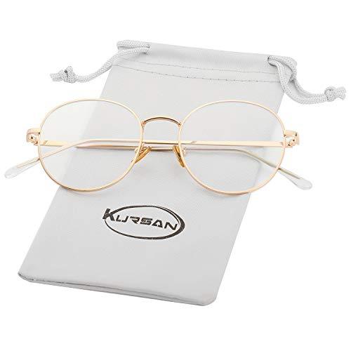 Blue Light Blocking Glasses for Women Men Stylish Round Metal Frame Clear Lens Eyeglasses (Gold)