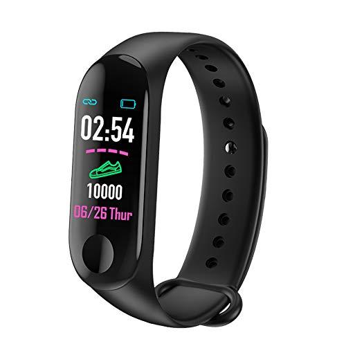 Pulsera inteligente Rastreador de ejercicios, Monitor de ritmo cardíaco para la presión arterial M3 Plus, Pantalla táctil a color resistente al agua Reloj inteligente para niños, mujeres y hombres