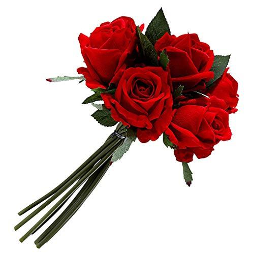 FEIFUSHIDIAN Ramo de rosas artificiales realistas para mesa, centro de mesa, flores artificiales, decoración floral para el hogar, color rojo fuerte
