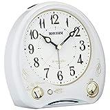 リズム時計工業(Rhythm) 目覚まし時計 メロディ付き 連続秒針 アリアカンタービレN 白 13.6×13.5×7.9cm 8RM400SR03