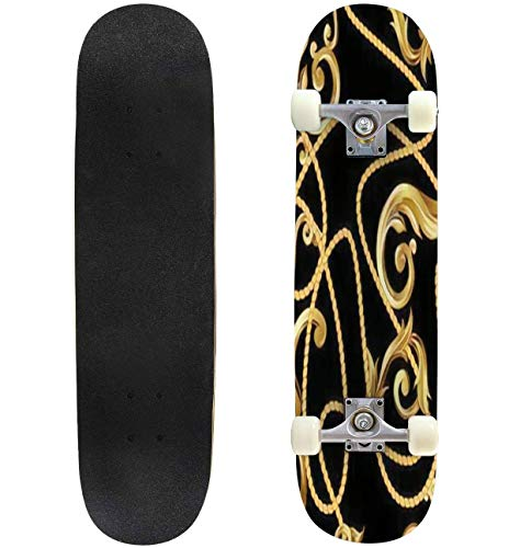For Sale! Classic Concave Skateboard Seamless Pattern with Golden Baroque Elements Vector Illustrati...