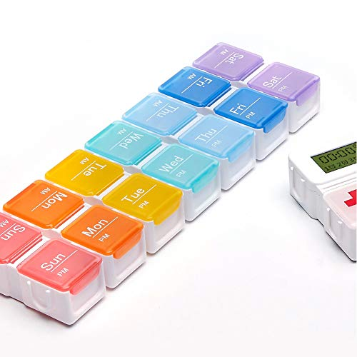 Tree2018 Pill Box 7 Days 14 Compartments, Pill Organisers, Rainbow Pill Box, Large Capacity Medicine Organiser for Vitamin Fish Oil Supplements Medication