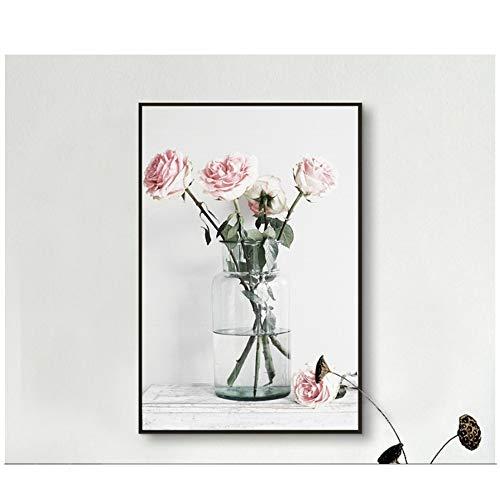 NIESHUIJING druk op canvas roze roze glazen vaas eenvoudige stijl schilderij-60x80cm No Frame