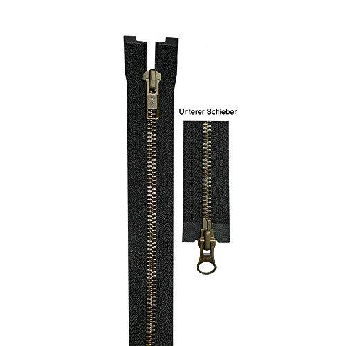 YKK - Metallreißverschluss (2-Wege-teilbar) - Kettenfarbe Antik Messing - 5 mm Kettenbreite - für Jacken und Lederwaren, 65,0 cm Länge, Schwarz (580)