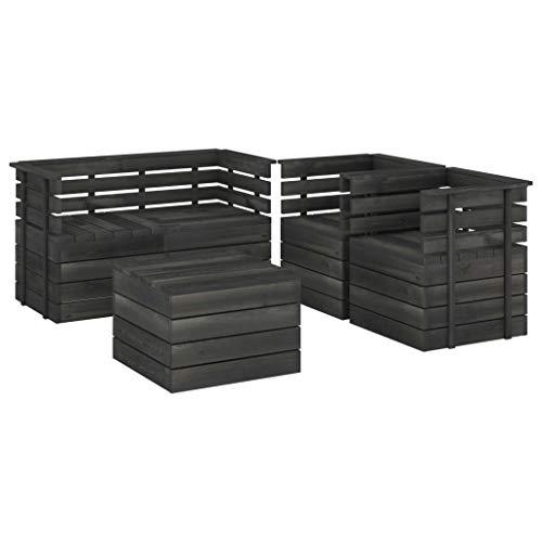 vidaXL - Paleta de jardín de madera de pino maciza, 5 unidades, muebles de exterior, muebles de terraza, muebles de jardín, muebles de patio, color gris oscuro