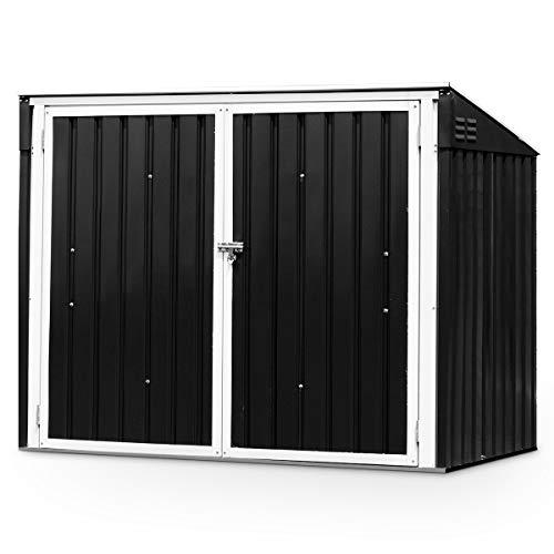 GOPLUS Mülltonnenbox Gartenlagerhaus, Multifunktionaler Geräteschuppen Deckel mit Gasdruckfedern, Metallschuppen mit Abschließbarer Sicherheitstür, Gartenschrank Aufbewahrungsbox, Dunkelgrau