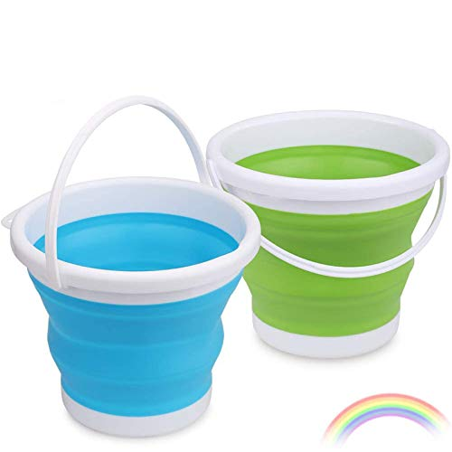 """Anzmtosn Foldable Beach Buckets Set 6.5"""" Large Sand Portable Multi Functions Pails Kit Buckets Easy Stock Tool for Camping, Travelling, Fishing, Beach Toys,Car Window Washing, Household Cleaning"""