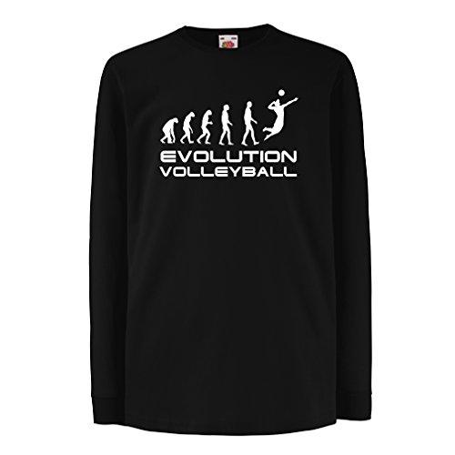 lepni.me Kinder-T-Shirt mit Langen Ärmeln Die Geschichte und Entwicklung des Volleyballspiels (12-13 Years Schwarz Weiß)