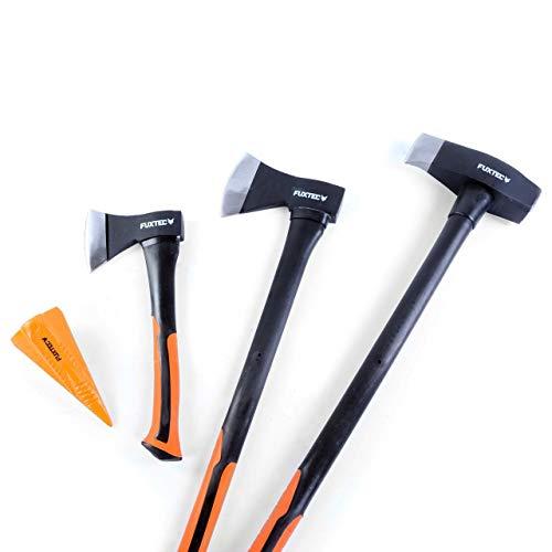 FUXTEC AXT Set, 4 teilig, Beil 900gr, Axt 1.600gr. Spaltaxt 3.900gr, 1,8kg Spaltkeil mit 10 Jahren Garantie - Spalthammer Axtset, Spaltbeil