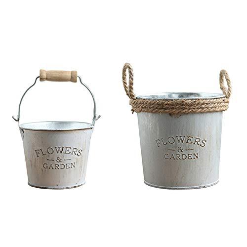 2 juegos de cubetas de metal galvanizado, macetas de barril retro francés, maceta vintage de granja rústica, macetas con asas para decoración de pared de casa de granja