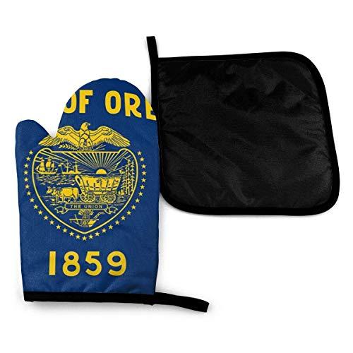 Bandera del estado de Oregon Mitones para horno de microondas y porta ollas Juego de cubierta Manta de aislamiento térmico Estera Pad Mitones Guante Hornear Pizza Barbacoa BBQ